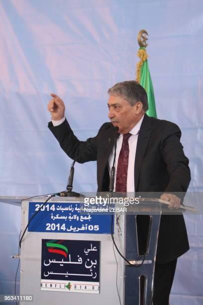 Ali Benflis candidat aux elections presidentielles lors d'un meeting le 5 avril 2014, Biskra, Algérie.
