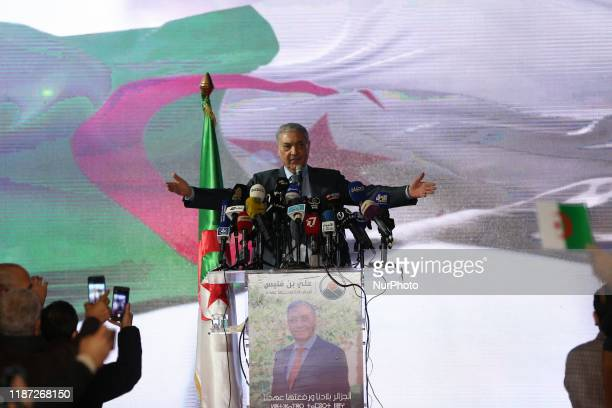 Ali Benflis, former prime minister and presidential candidate, during his election campaign in Algiers, Algeria on 08 December 2019. - Five...