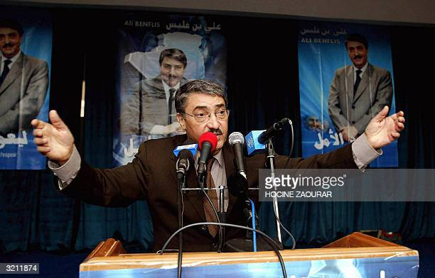 Ali Benflis , secretary general of the ruling National Liberation Front and presidential candidate, gives a speech 01 April 2004 during a meeting in...