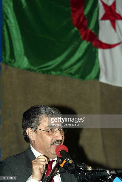 Ali Benflis , secretary general of the ruling National Liberation Front and presidential candidate, gives a speech during a meeting 02 April 2004 in...