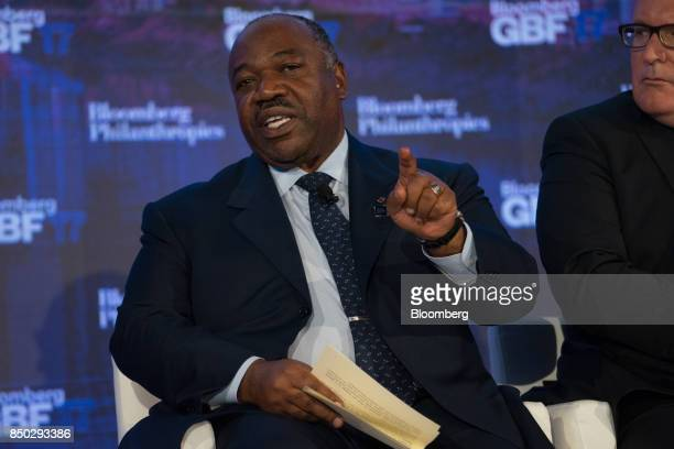 Ali Bongo Ondimba Gabon's president speaks during the Bloomberg Global Business Forum in New York US on Wednesday Sept 20 2017 The forum hosted...