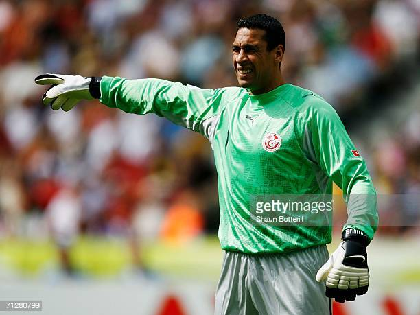 Ali Boumnijel of Tunisia gestures during the FIFA World Cup Germany 2006 Group H match between Ukraine and Tunisia played at the Olympic Stadium on...