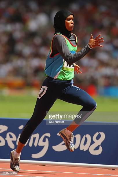 Ali Bourrale Fathia of Djibouti competes in the Women's 100m Heats at the National Stadium on Day 8 of the Beijing 2008 Olympic Games on August 16...