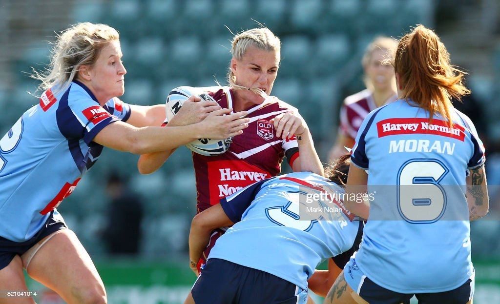 Ali Brigginshaw of Queensland is tackled during the Women's Interstate Challenge match between New South Wales and Queensland at WIN Stadium on July 23, 2017 in Wollongong, Australia.
