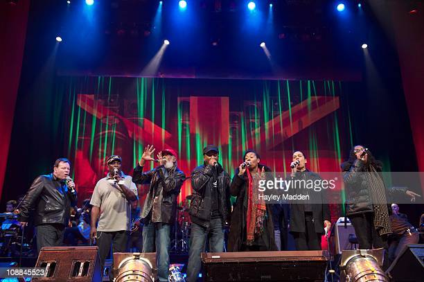 Ali Campbell Dennis Bovell Big Youth Brinsley Forde Carroll Thompson Pauline Black and Janet Kay perform the finale of the Reggae Britannia concert...