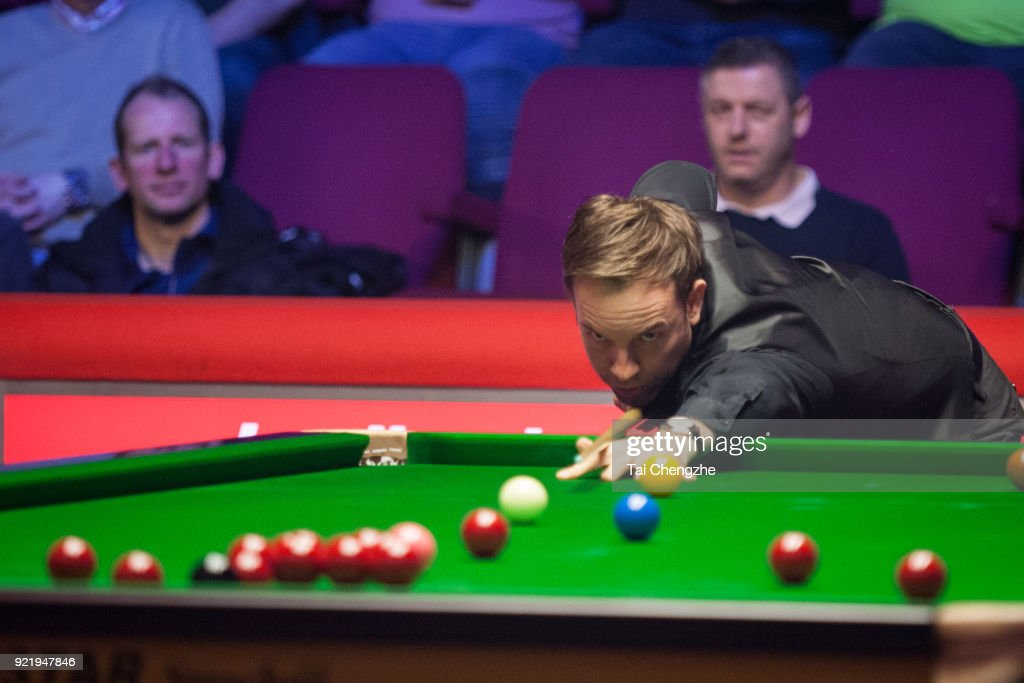 Ali Carter of England plays a shot during his first round match against John Higgins of Scotland on day two of 2018 Ladbrokes World Grand Prix at Guild Hall on February 20, 2018 in Preston, England.