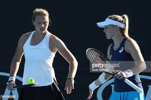 Ali Collins of Great Britain and Jule Niemeier of Germany compete against Lea Boskovic and Elena Rybakina during the Australian Open 2017 Junior...