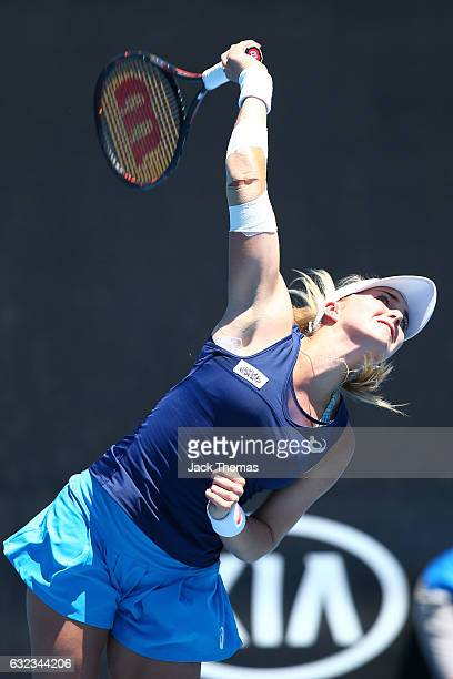 Ali Collins of Great Britain competes in her first round match against Mihika Yadav of India during the Australian Open 2017 Junior Championships at...