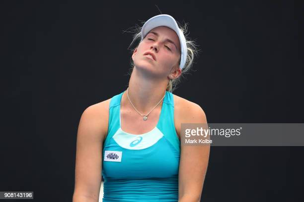 Ali Collins of Great Britain reacts against Kamilla Rakhimova of Russia during the Australian Open 2018 Junior Championships at Melbourne Park on...