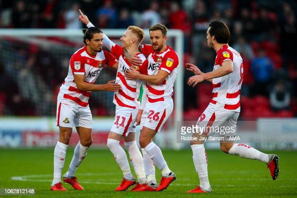 Ali Crawford of Doncaster Rovers celebrates after scoring a goal to make it 11 during the Sky Bet League One match between Doncaster Rovers and AFC...