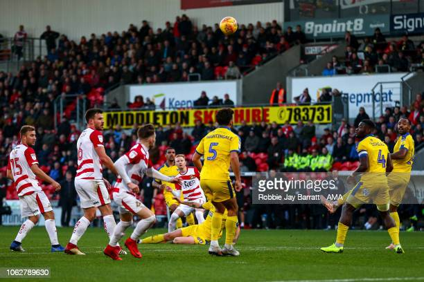 Ali Crawford of Doncaster Rovers scores a goal to make it 11 during the Sky Bet League One match between Doncaster Rovers and AFC Wimbledon at...