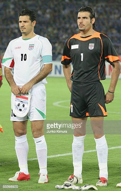 Ali Daei and Ebrahim Mirzapour of Iran in action during the 2006 FIFA World Cup Asian Qualifiers match between Japan and Iran at The International...