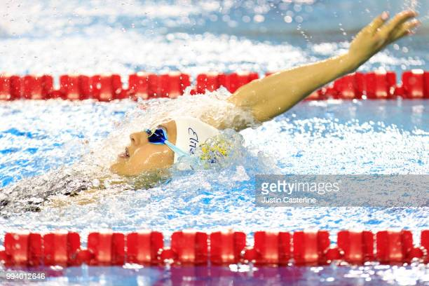 Ali Deloof competes in the women's 100m backstroke prelims at the 2018 TYR Pro Series on July 8 2018 in Columbus Ohio