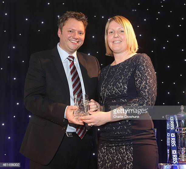Ali Donnelly accepts her Rugby Union Writers Club tankard during the Rugby Union Writers Club Annual Dinner Awards Evening at The Marriott Hotel...