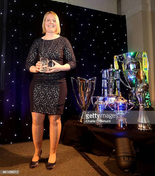 Ali Donnelly collects her Rugby Union Writers Club tankard during the Rugby Union Writers Club Annual Dinner Awards Evening at The Marriott Hotel...