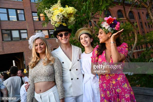 Ali Ehrlich Larry Milstein Caroline Rodman and Dani Beckerman attend the 2018 High Line Hat Party at the The High Line on June 14 2018 in New York...