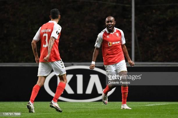 Ali Elmusrati of SC Braga celebrates after scoring their sides first goal with Vitor Tormena of SC Braga during the UEFA Europa League Group G stage...