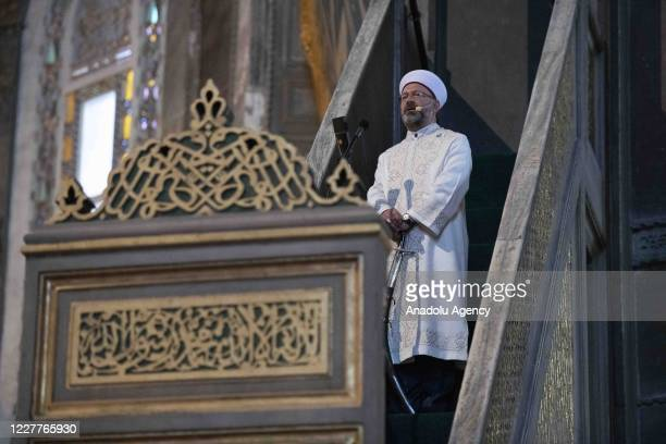 Ali Erbas, the head of Turkey's Religious Affairs Directorate, is seen at the minbar with sword to deliver the Friday Sermon named ''Hagia Sophia:...