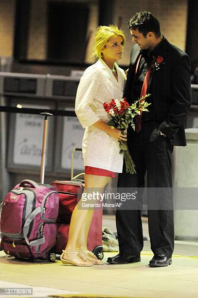 Ali Fedotowsky and Roberto Martinez sighting at the Tampa International Airport on February 14 2011 in Tampa Florida