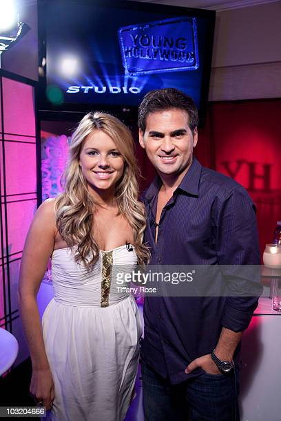 LOS ANGELES CA AUGUST 02 Ali Fedotowsky of 'The Bachelorette' poses with Young Hollywood CEO/Founder RJ Williams at Young Hollywood Studios on August...