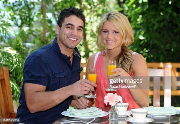 Ali Fedotowsky The Bachelorette poses with her fiance Roberto Martinez at the Amarano Hotel on August 3 2010 in Burbank California
