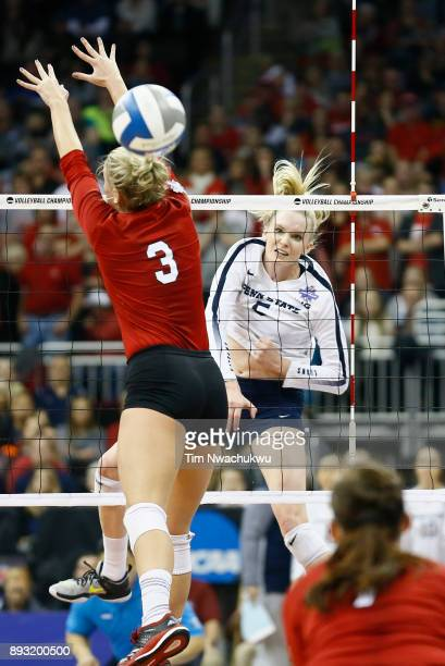 Ali Frantti of Penn State University hits a kill against the University of Nebraska during the Division I Women's Volleyball Semifinals held at...