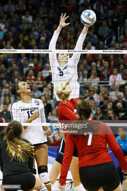 Ali Frantti of Penn State University reaches for the ball during the Division I Women's Volleyball Semifinals held at Sprint Center on December 14...
