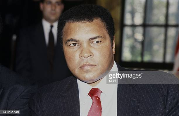 NBC NEWS 'Ali Frazier Holmes Press Conference' Pictured Former World Heavy Weight Boxing Champion Muhammad Ali on Novemember 1 1989 Photo by...