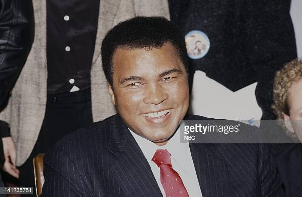 NBC NEWS 'Ali Frazier Holmes Press Conference' Pictured Former World Heavy Weight Boxing Champions Joe Frazier Larry Holmes Muhammad Ali on...