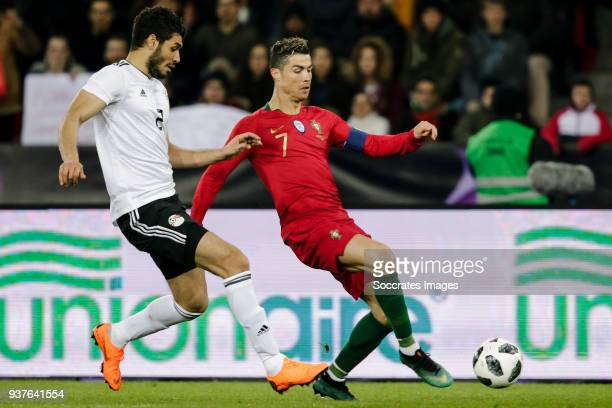 Ali Gabr of Egypt Cristiano Ronaldo of Portugal during the International Friendly match between Egypt v Portugal at the Letzigrund Stadium on March...