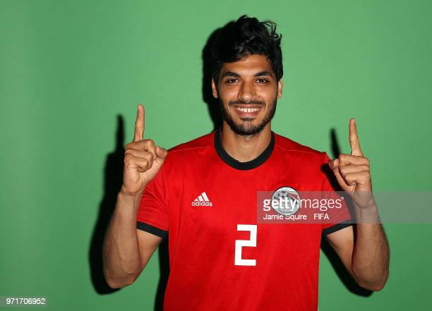 Ali Gabr of Egypt poses during the official FIFA World Cup 2018 portrait session at The Local hotel on June 11 2018 in Grozny Russia