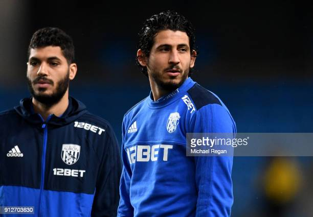 Ali Gabr of West Bromwich Albion and Ahmed ElSayed Hegazi of West Bromwich Albion take a look around the pitch prior to the Premier League match...