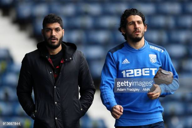 Ali Gabr of West Bromwich Albion and Ahmed Hegazi of West Bromwich Albion arrive at the stadium prior to the Premier League match between West...