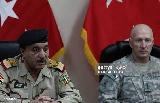 Ali Ghaidan the commander of the Iraqi army's ground forces speaks during a press conference with Lieutenant General Robert Cone the deputy...