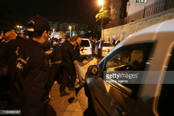 Ali Haddad proBouteflika businessman and main funders of Bouteflika's electoral campaigns is seen in a car after arrested by Algerian police in...
