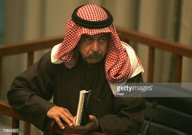 Ali Hasan AlMajid listens to the prosecution in court during the 'Anfal' genocide trial on December 18 2006 in Baghdad Iraq Saddam and six...