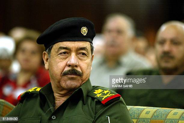 Ali Hasan alMajid senior member of Iraq's ruling Revolution Command Council and Iraqi President Saddam Hussein's cousin attends a conference on...