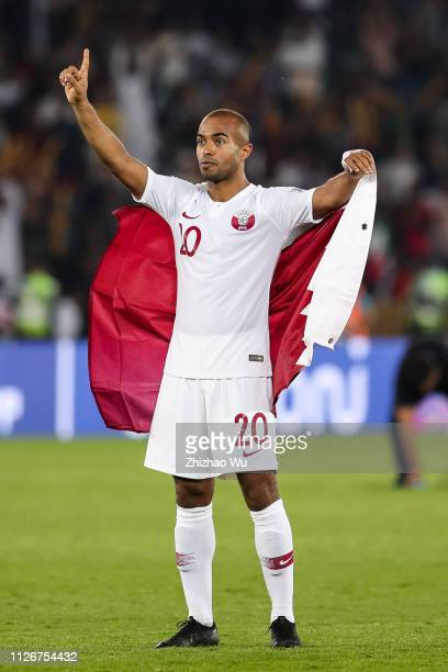 Ali Hassan Afif of Qatar celebrates the victory after the AFC Asian Cup final match between Japan and Qatar at Zayed Sports City Stadium on February...