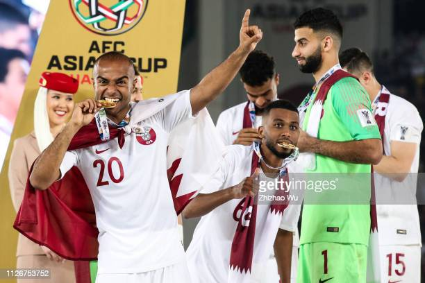 Ali Hassan Afif of Qatar celebrates their victory after the AFC Asian Cup final match between Japan and Qatar at Zayed Sports City Stadium on...