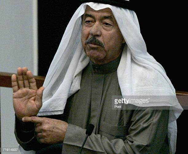 Ali Hassan alMajeed a codefendant of former Iraqi President Saddam Hussein testifies during their trial on genocide charges resumes in the fortified...