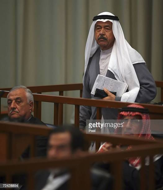 Ali Hassan alMajid otherwise known as 'Chemical Ali'stands to speak during the Anfal trial inside the heavily fortified Green Zone on November 07...