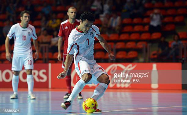 Ali Hassanzadeh of Iran scores his teams first goal during the FIFA Futsal World Cup Group B match between Morocco and Iran at Indoor Stadium Huamark...