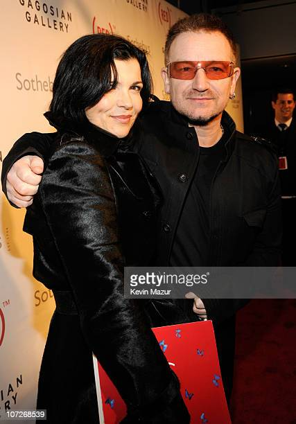 Ali Hewson and musician Bono arrive at Sotheby's Bono and Damien Hirst Host The Auction to Benefit AIDS in Africa on February 14 2008 in New York City
