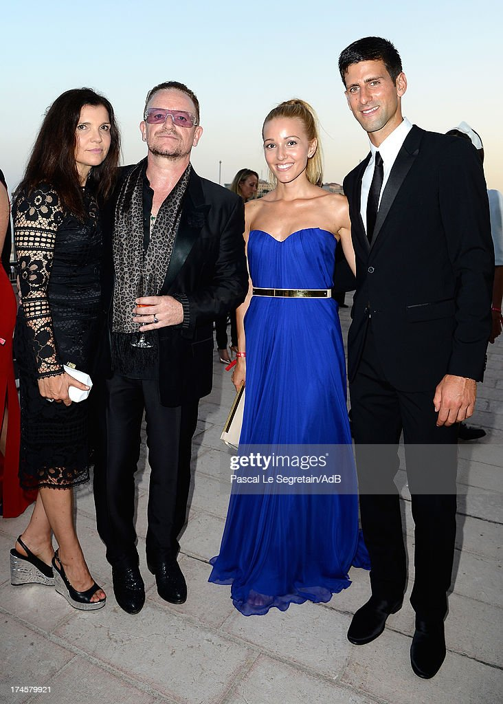 Ali Hewson, Bono, Jelena Ristic and Novak Djokovic attend the cocktail at the 'Love Ball' hosted by Natalia Vodianova in support of The Naked Heart Foundation at Opera Garnier on July 27, 2013 in Monaco, Monaco.