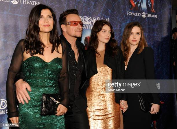 Ali Hewson Bono of U2 Eve Hewson and Jordan Hewson attend SpiderMan Turn Off The Dark Broadway opening night at Foxwoods Theatre on June 14 2011 in...