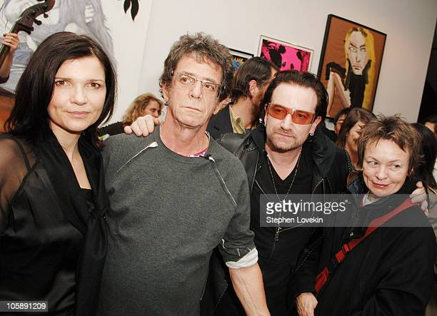 Ali Hewson Lou Reed Bono and Laurie Anderson during Olympus Fashion Week Fall 2006 Edun Party and Showing at Salon 94 in New York City NY United...