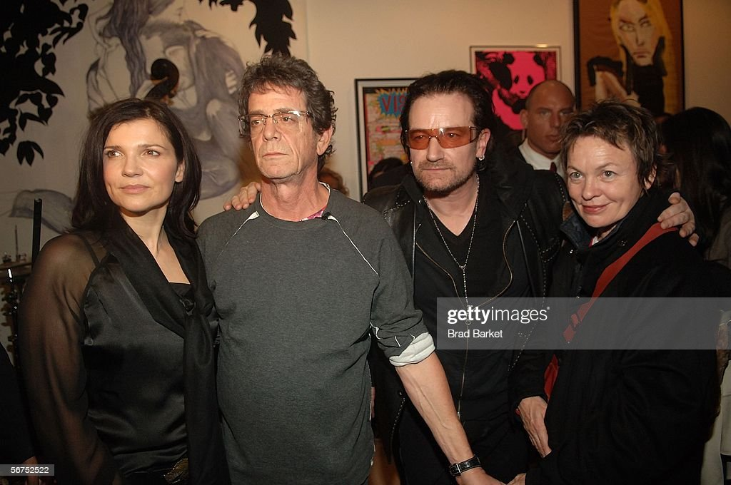 Ali Hewson, Lou Reed, Bono, and Laurie Anderson pose at the Edun Fall 2006 Presentation during Olympus Fashion Week February 5, 2006 in New York City.