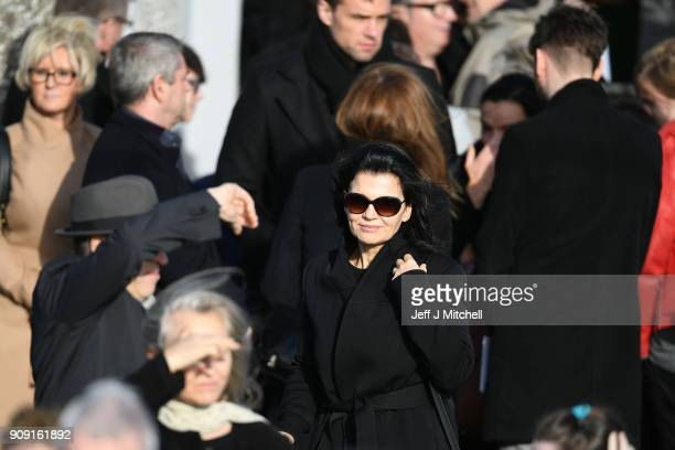 Ali Hewson the wife of Bono from U2 stands outside St Ailbe's parish church in Ballybricken after Dolores O'Riordan's funeral on January 23 2018 in...