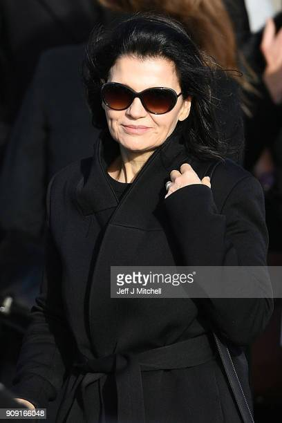 Ali Hewson the wife of Bono from U2 stands outside St Ailbe's parish church in Ballybricken after the funeral on January 23 2018 in Limerick Ireland...