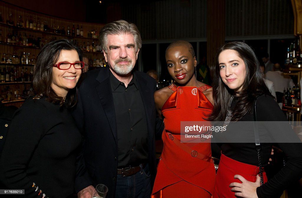 Ali Hewson, Tom Freston, and Danai Gurira, and Meagan Bond pose for a picture during the Danai x One x Love Our Girls celebration at The Top of The Standard on February 12, 2018 in New York City.